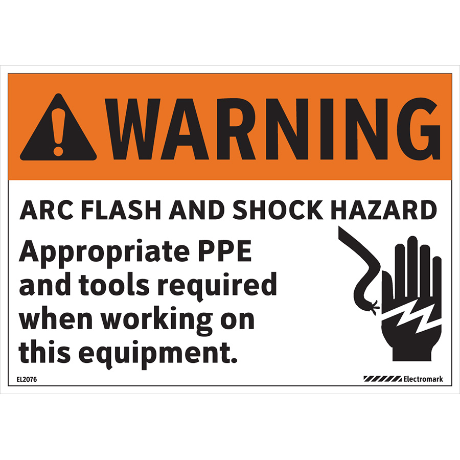 Warning Arc Flash and Shock Hazard Appropriate Tools Required Label