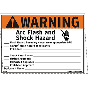 Write-In Warning Arc Flash and Shock Hazard Appropriate Tools Required Label