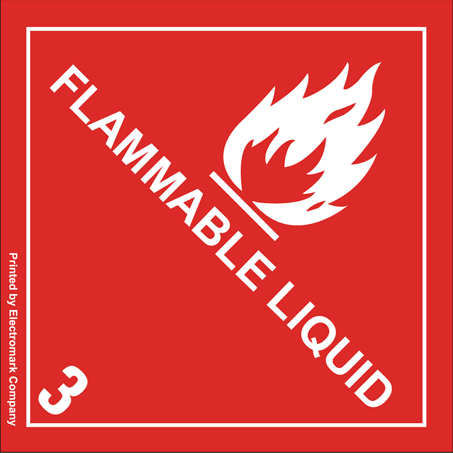 Flammable Liquid 3 Shipping Label