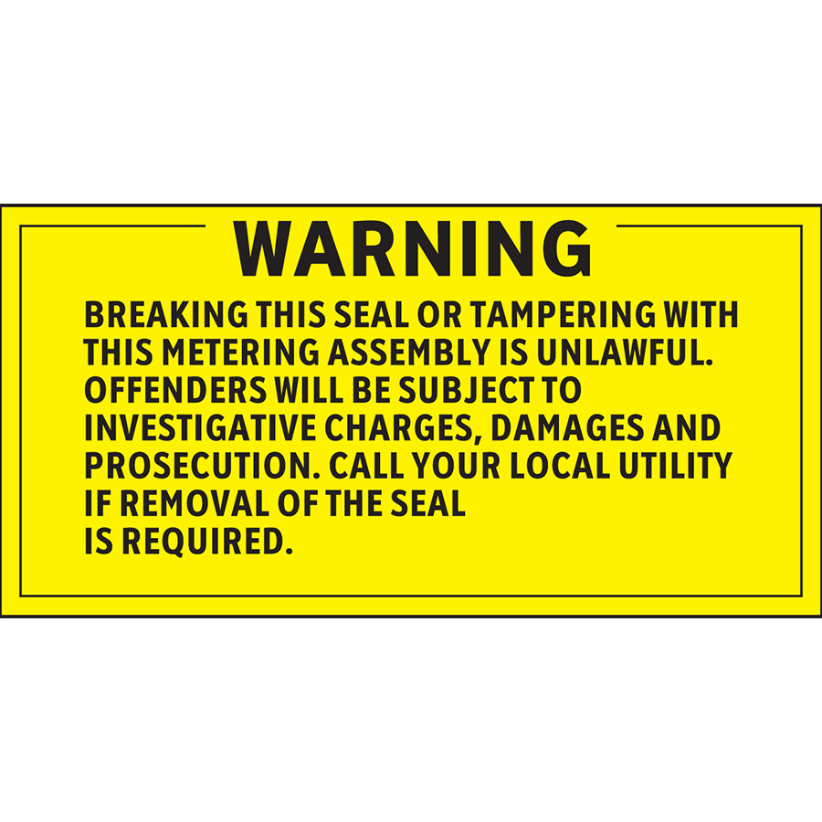 Warning Breaking this Seal Or Tampering is Unlawful Labels