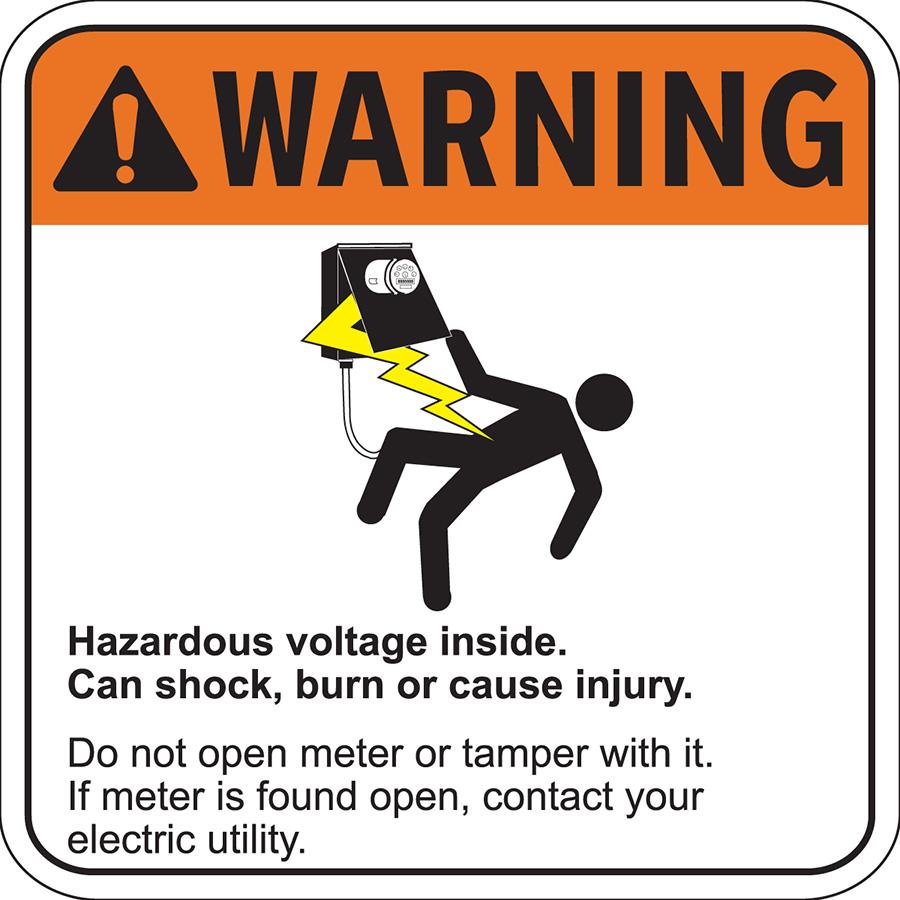 ANSI Warning  Hazardous Voltage Inside Label