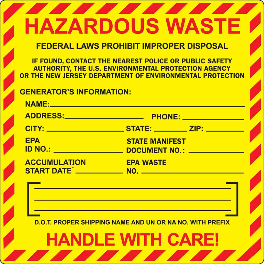 New Jersey  Hazardous Waste Label
