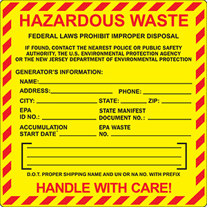 New Jersey  Hazardous Waste Label