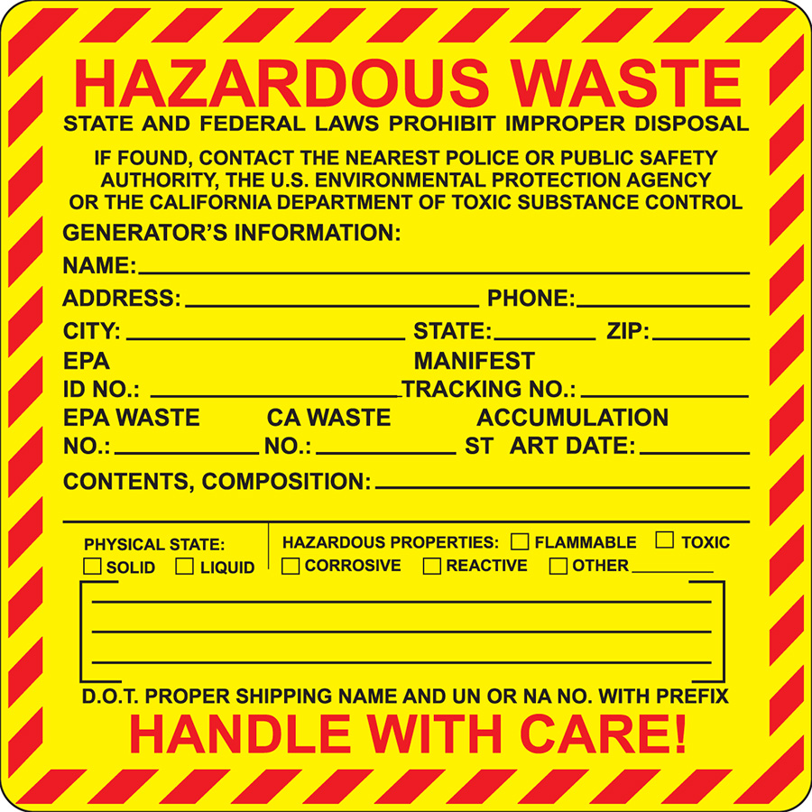 California Hazardous Waste Label