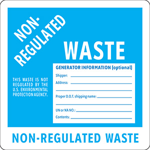 Non-Regulated Waste Label