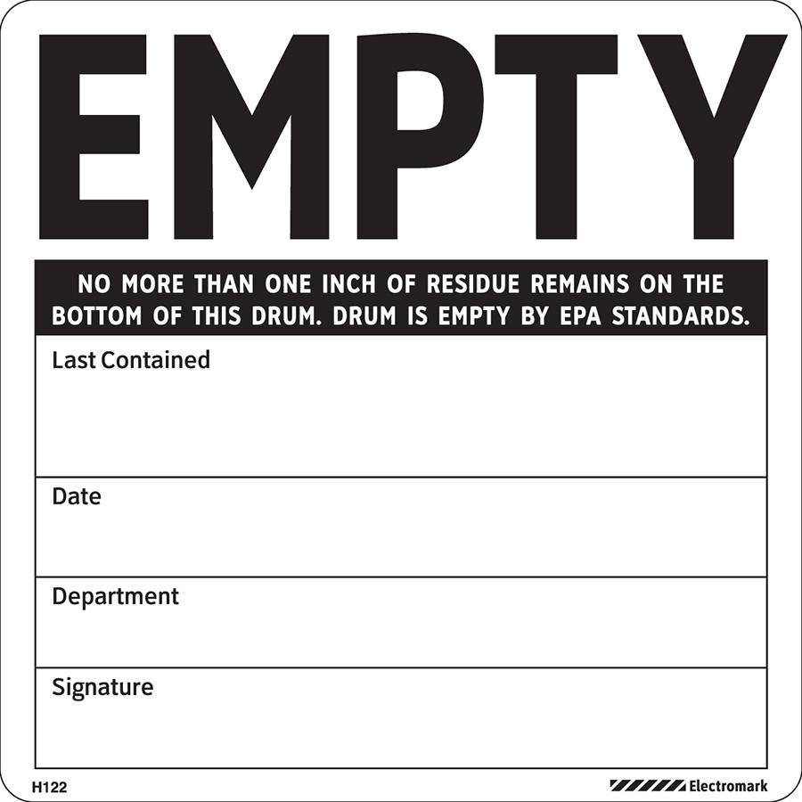 Drum is Empty by EPA Standards Label