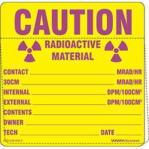 Caution Radioactive Material Write-In Label