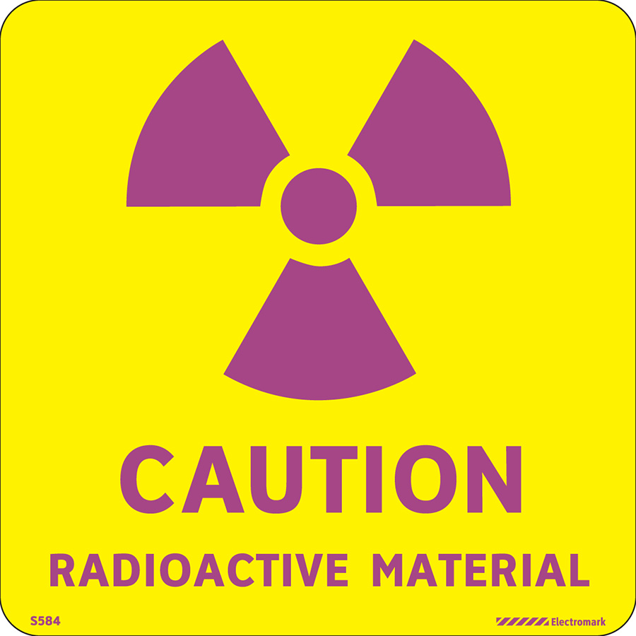 """Caution Radioactive Material  Label -  4""""h x 4""""w"""
