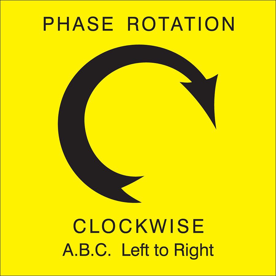 Yellow Clockwise Left to Right Arrow Phase Rotation Label