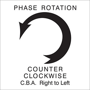 White Counter Clockwise Right to Left Arrow Phase Rotation Label