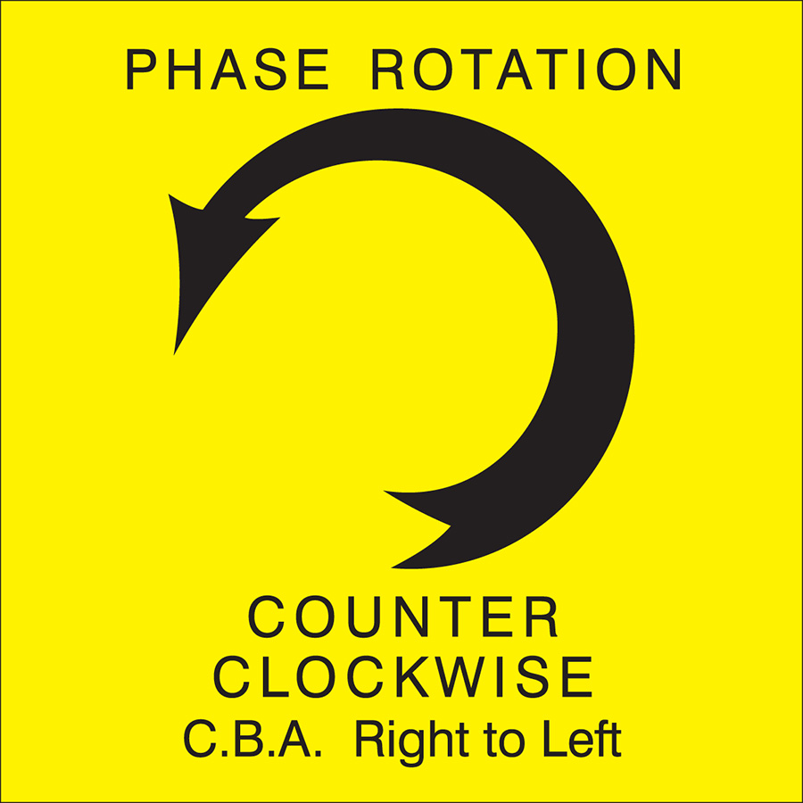 Yellow Counter Clockwise Right to Left Arrow Phase Rotation Label