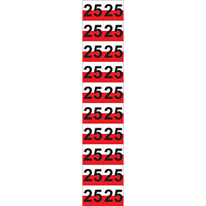 """Red and White """"25"""" Luminaire Labels - 1""""h x 1""""w"""