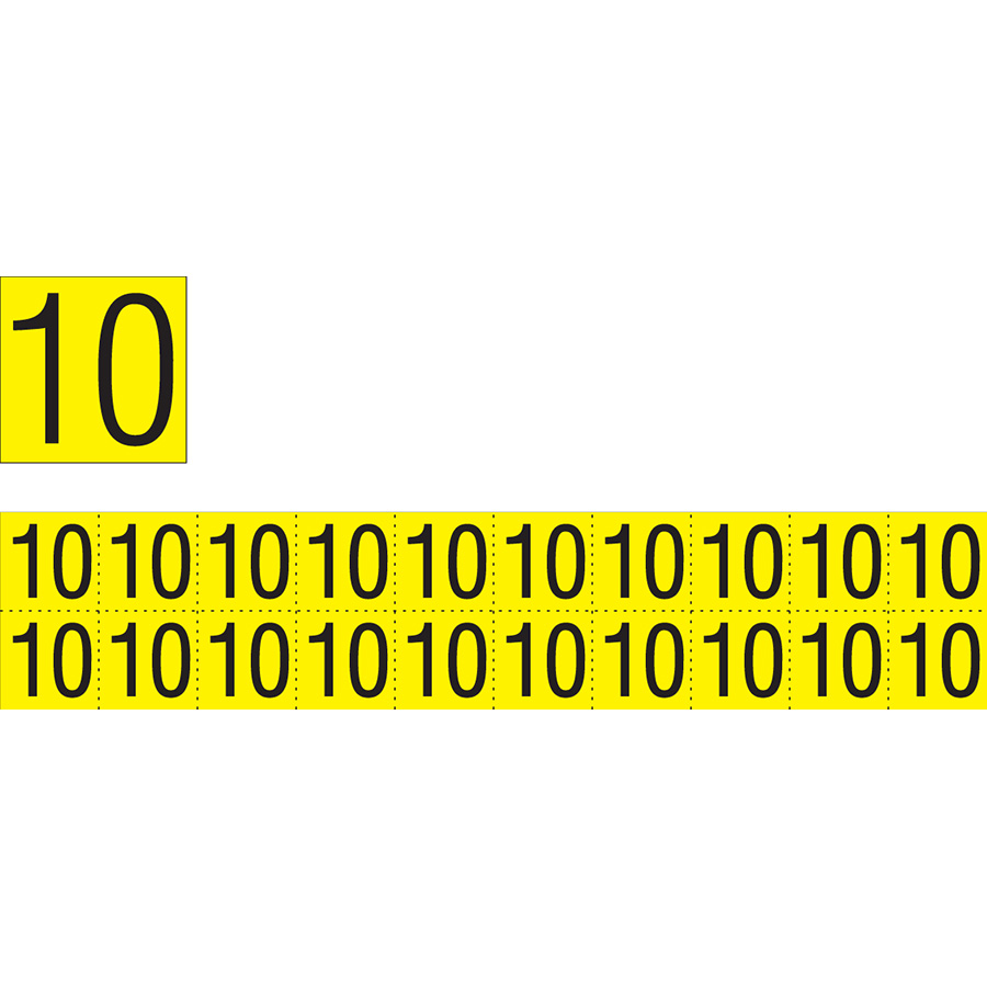 """Yellow""""10"""" Luminaire Labels - 1""""h x 1""""w"""