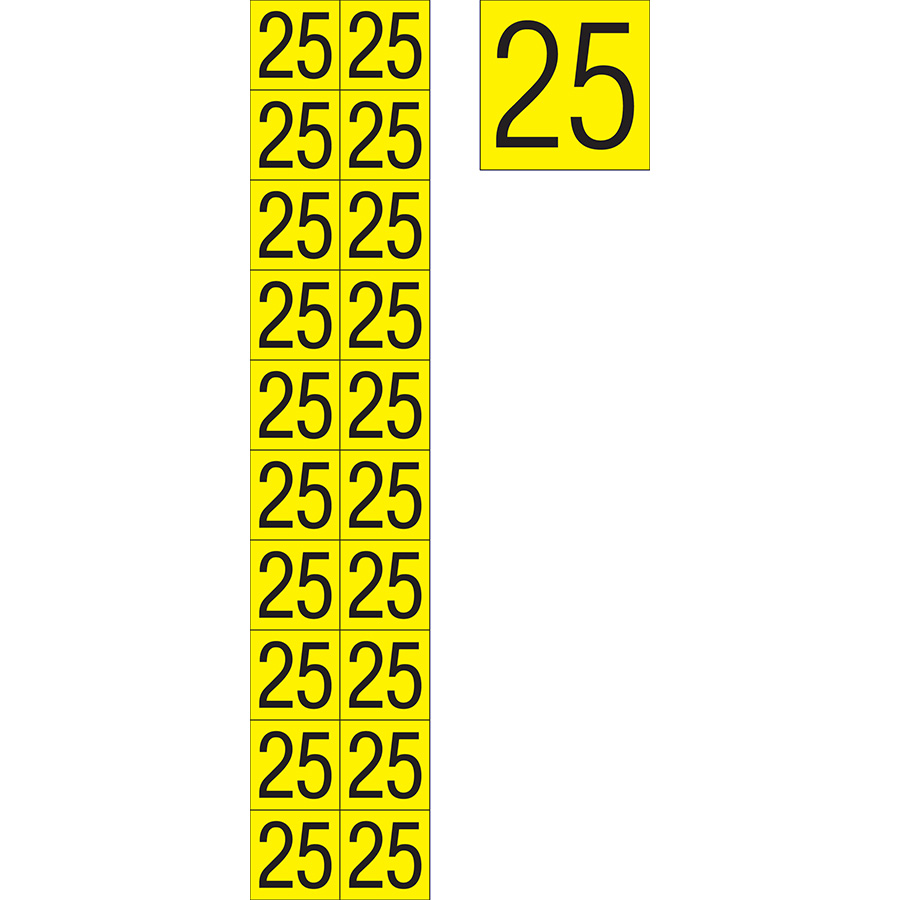 "Yellow""25"" Luminaire Labels - 1""h x 1""w"