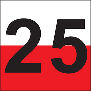 """25"" Luminaire Label - 3""h x 3""w"