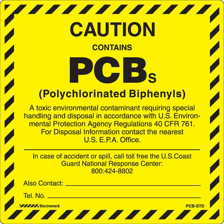 Caution Contains PCBs Contact         Label