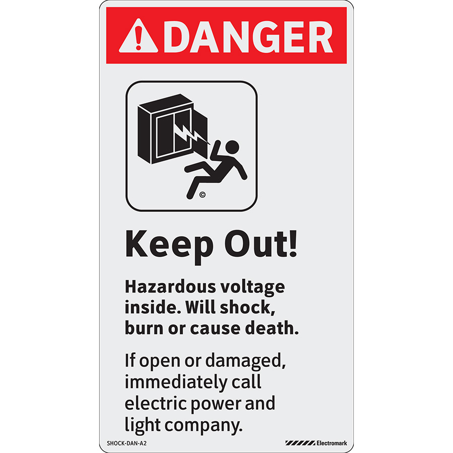 ANSI Reflective Danger Keep Out! Hazardous Voltage Inside Labels