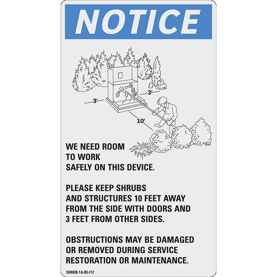 Reflective Notice Shrub Management Label