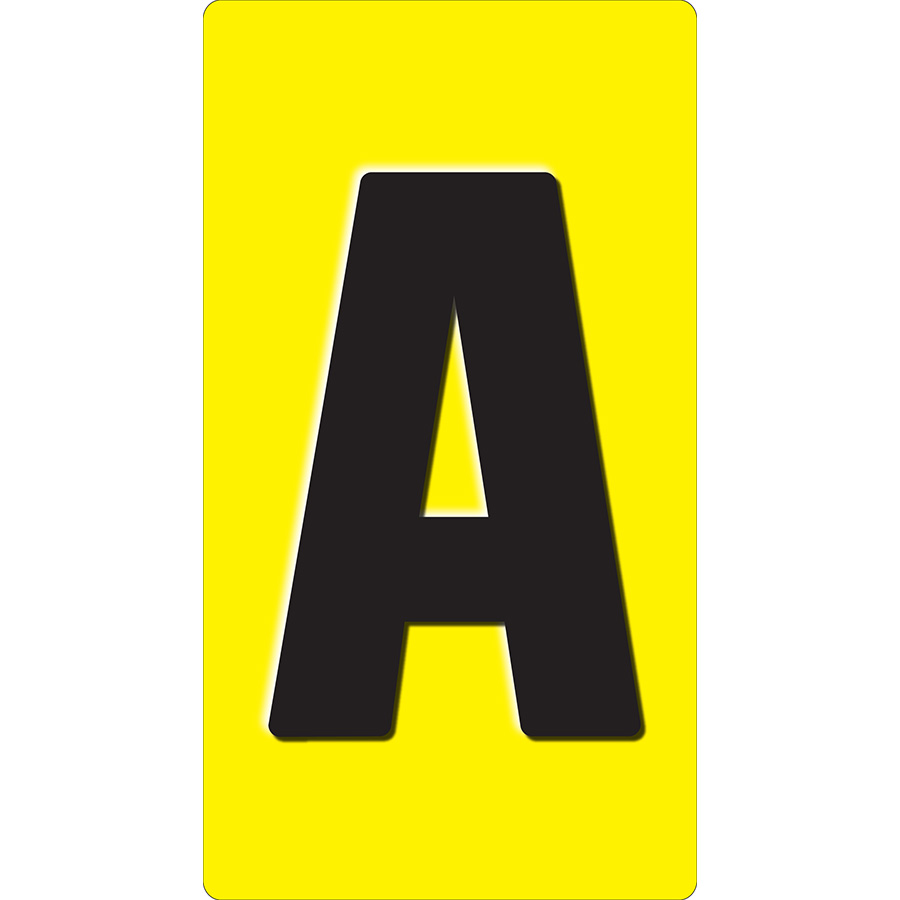 "1"" Black on Yellow Embossed Metal Slide-In Markers A-Z"