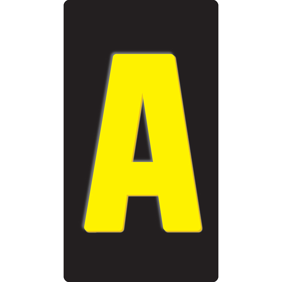 "1"" Yellow on Black Embossed Metal Slide-In Markers A-Z"