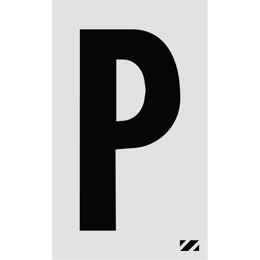 "2"" Black on Silver Engineer Grade Reflective ""P"""