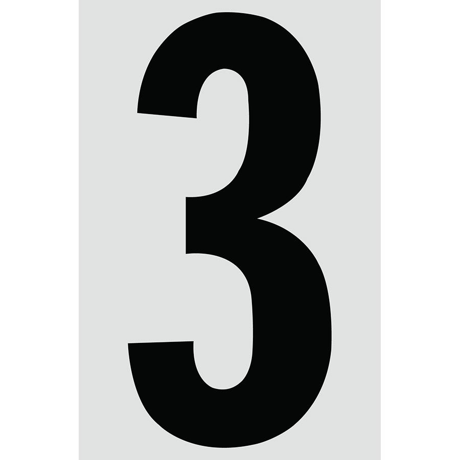 "4"" Black on Silver Engineer Grade Reflective ""3"""