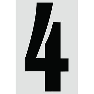 "4"" Black on Silver Engineer Grade Reflective ""4"""