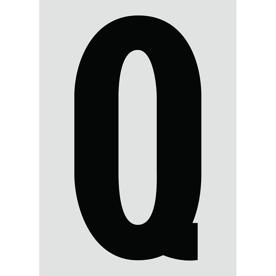 "6"" Black on Silver Engineer Grade Reflective ""Q"""