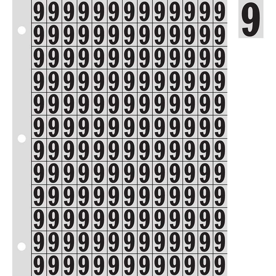 "0.78"" Black on Silver Engineer Grade Reflective ""9"""