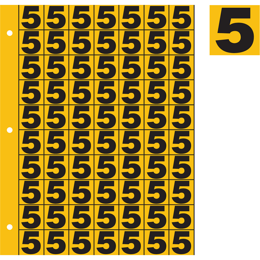 "1"" Black on Yellow Engineer Grade Reflective ""5"""