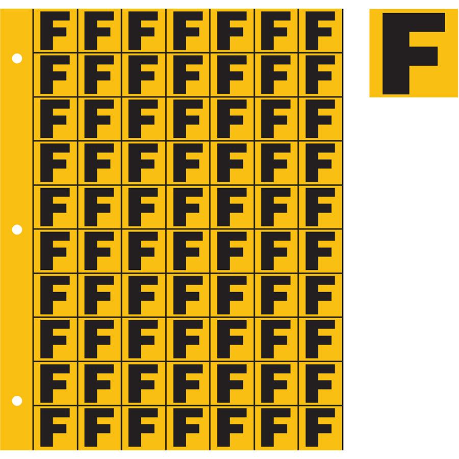 "1"" Black on Yellow Engineer Grade Reflective ""F"""