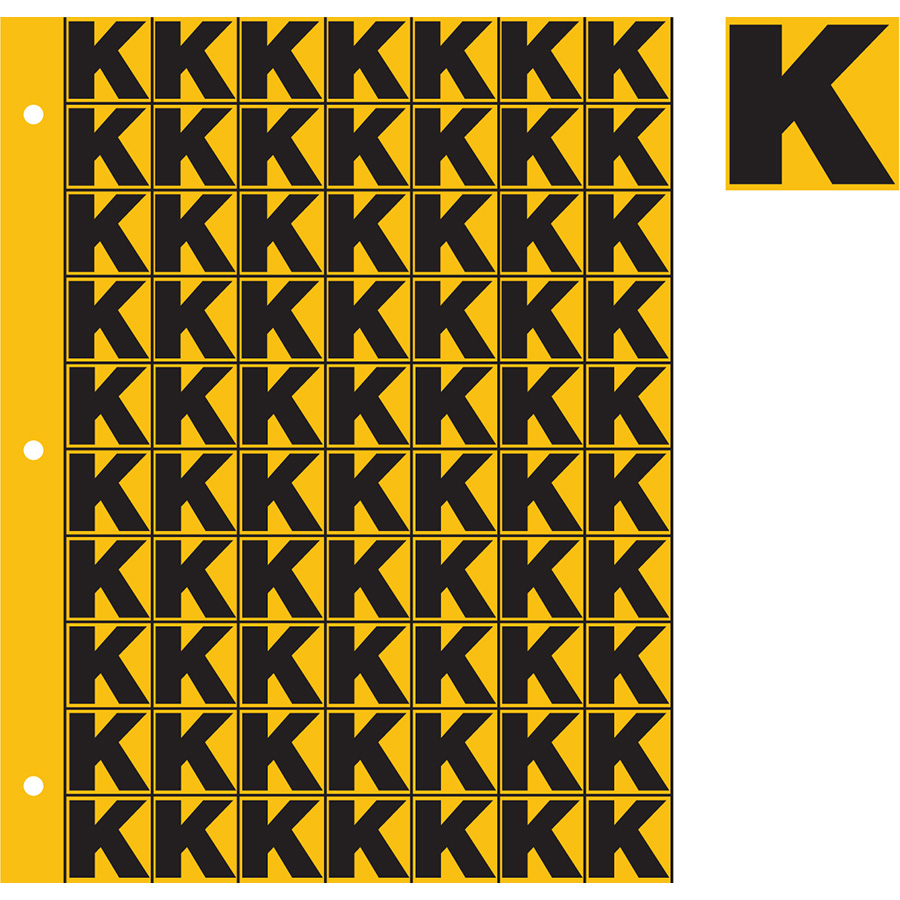 "1"" Black on Yellow Engineer Grade Reflective ""K"""