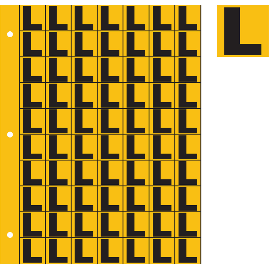 "1"" Black on Yellow Engineer Grade Reflective ""L"""