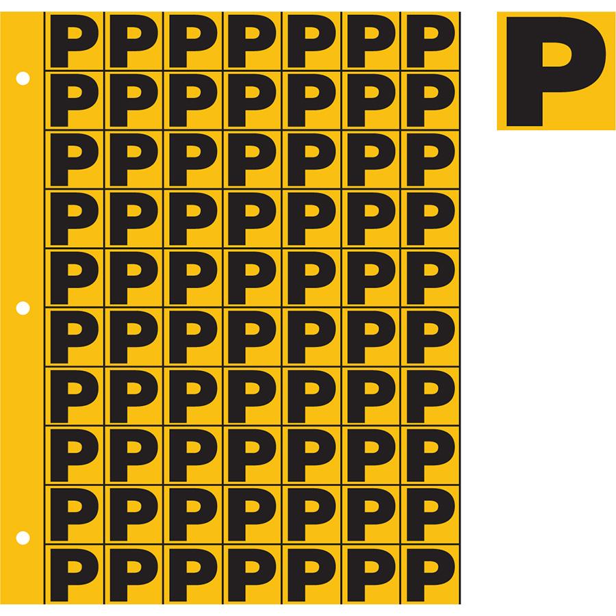 "1"" Black on Yellow Engineer Grade Reflective ""P"""