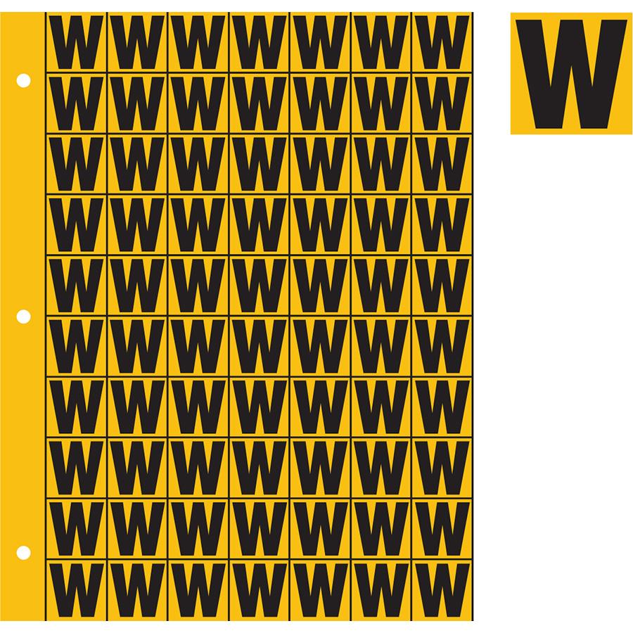 "1"" Black on Yellow Engineer Grade Reflective ""W"""