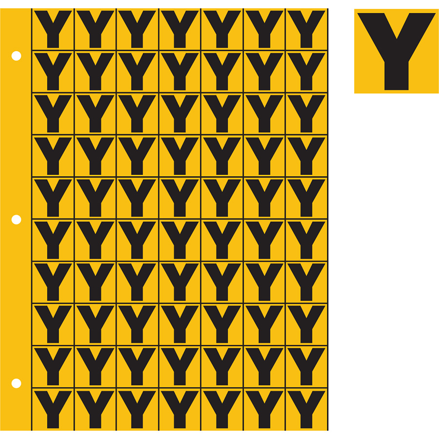 "1"" Black on Yellow Engineer Grade Reflective ""Y"""