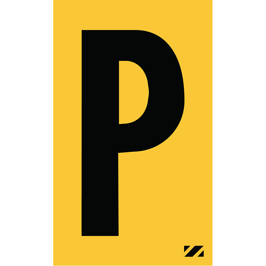 "2"" Black on Yellow Engineer Grade Reflective ""P"""