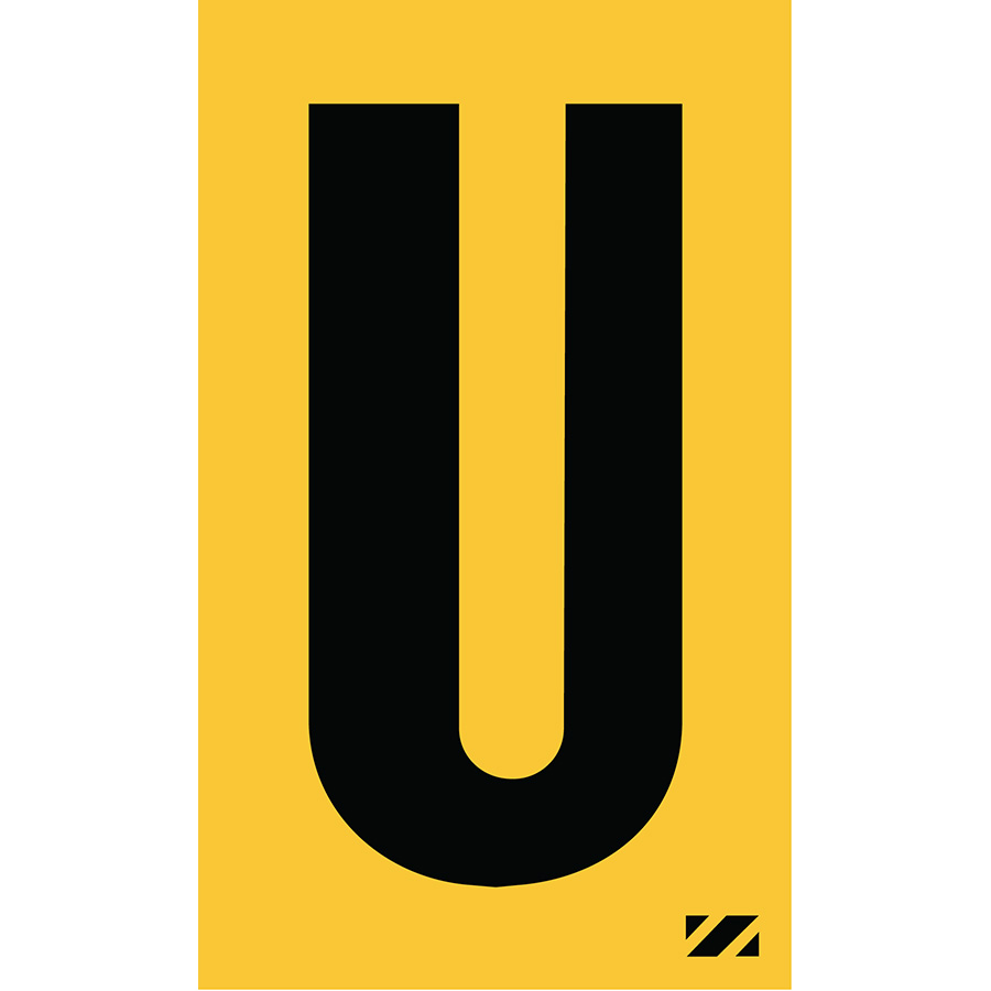 "2"" Black on Yellow Engineer Grade Reflective ""U"""