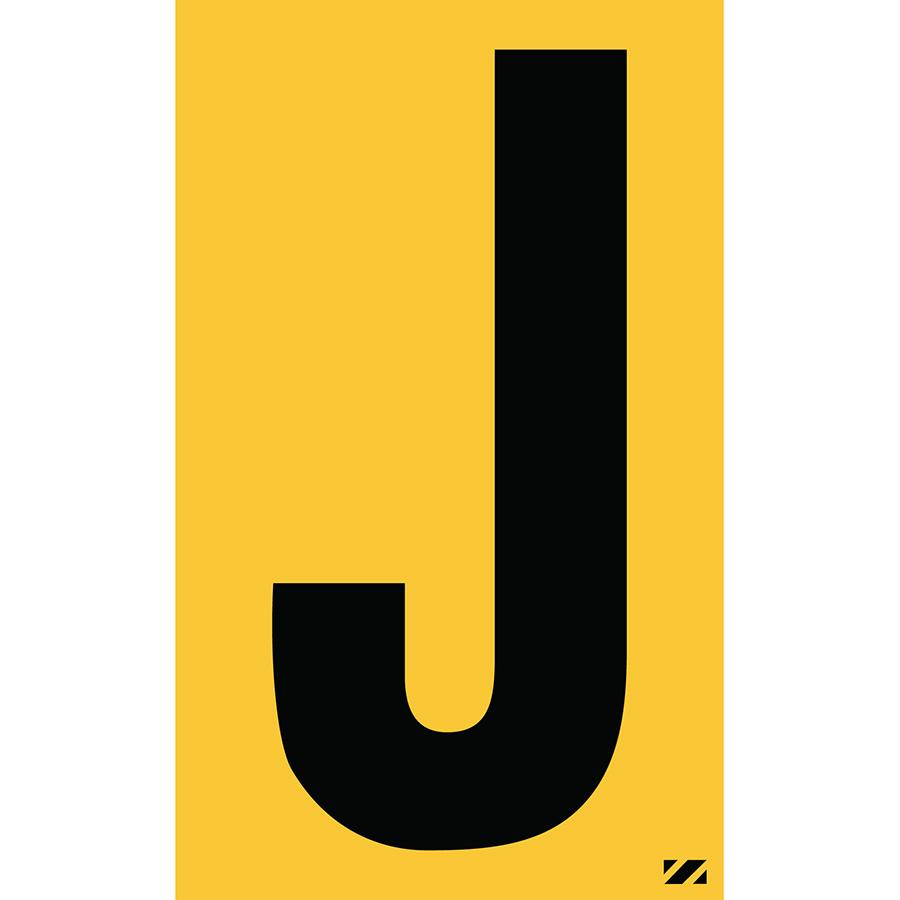"2.5"" Black on Yellow Engineer Grade Reflective ""J"""