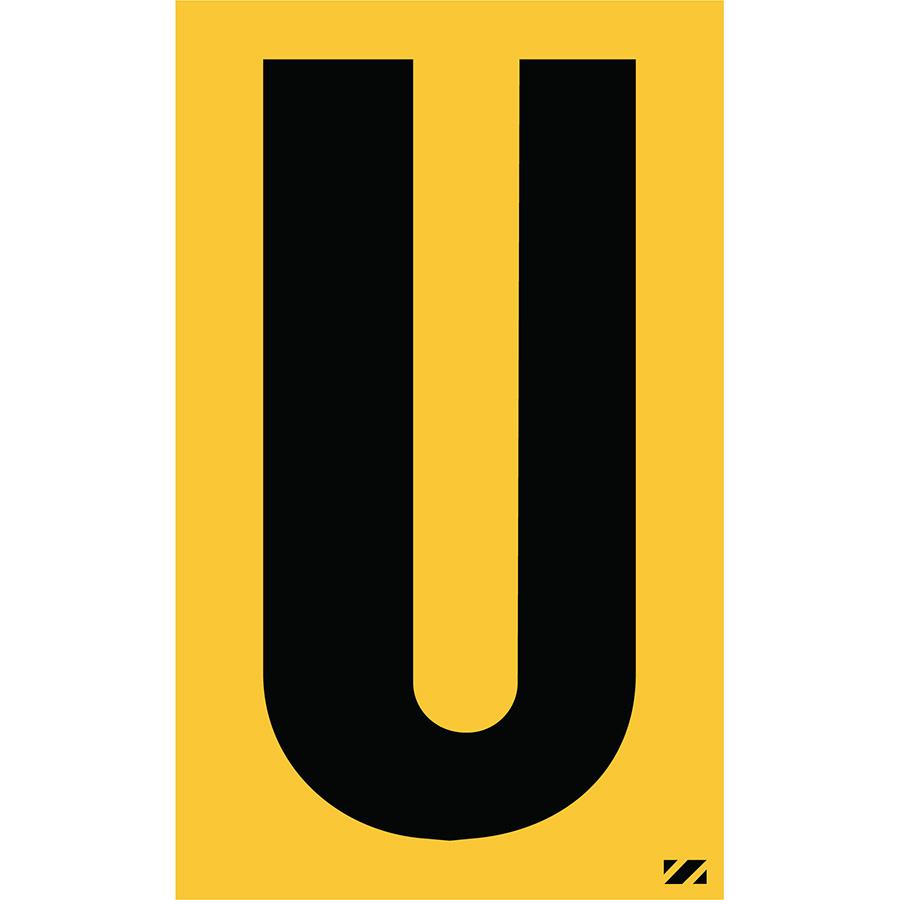 "2.5"" Black on Yellow Engineer Grade Reflective ""U"""