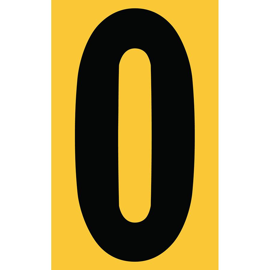 "3"" Black on Yellow Engineer Grade Reflective ""0"""