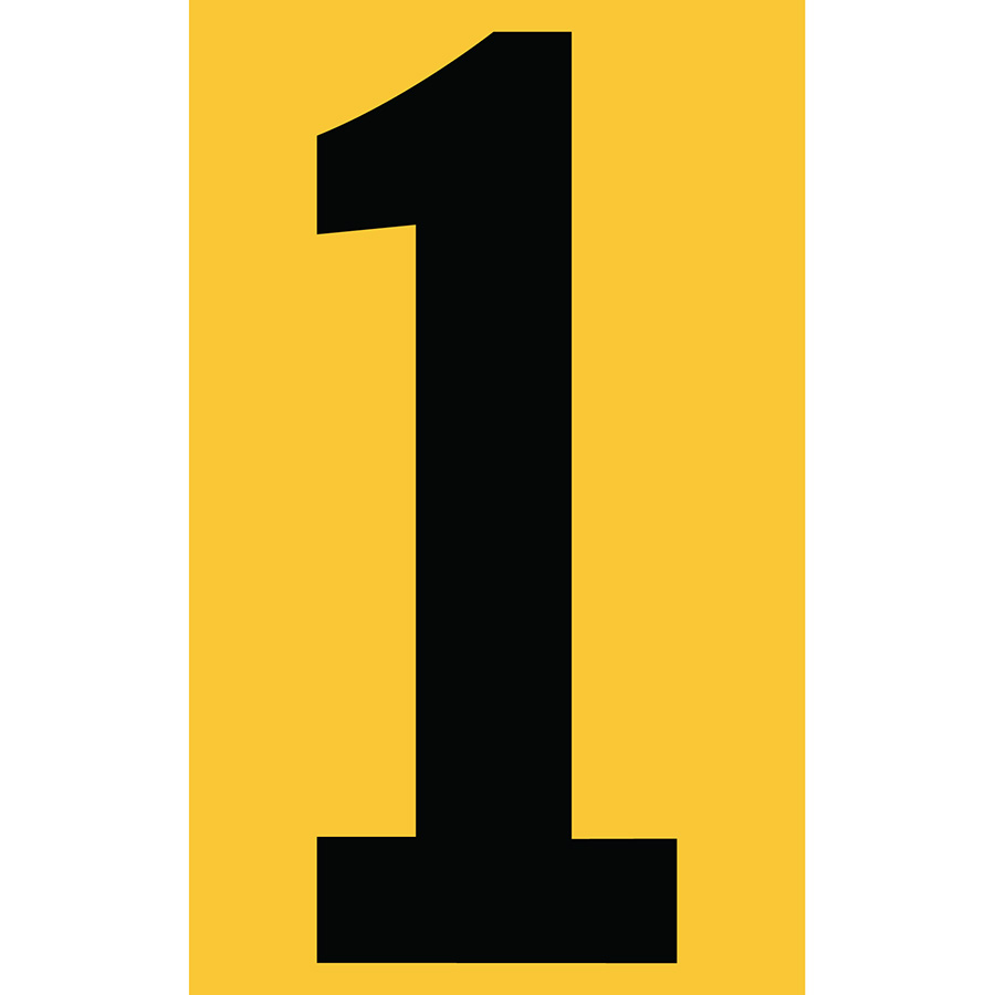 "3"" Black on Yellow Engineer Grade Reflective ""1"""