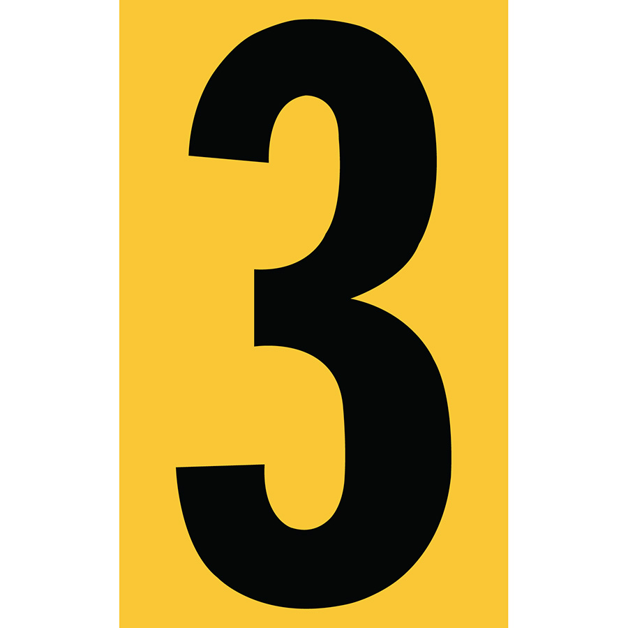 "3"" Black on Yellow Engineer Grade Reflective ""3"""