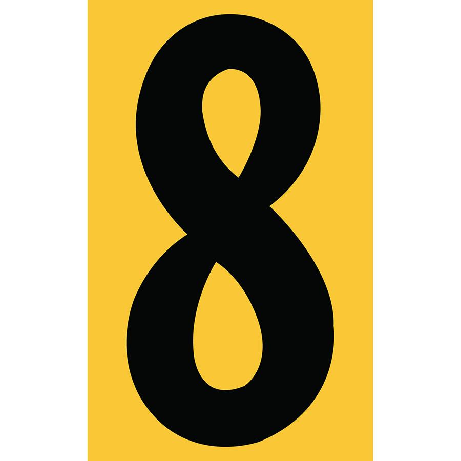 "3"" Black on Yellow Engineer Grade Reflective ""8"""