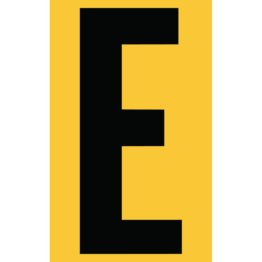 "3"" Black on Yellow Engineer Grade Reflective ""E"""