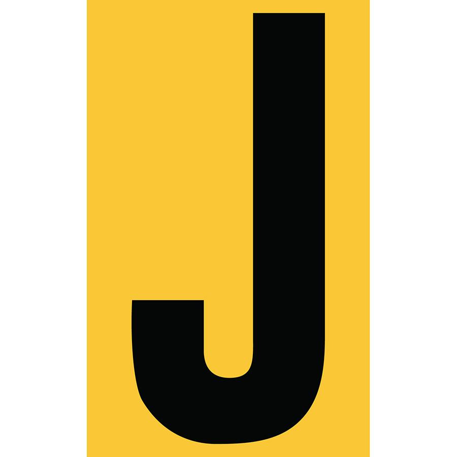 "3"" Black on Yellow Engineer Grade Reflective ""J"""