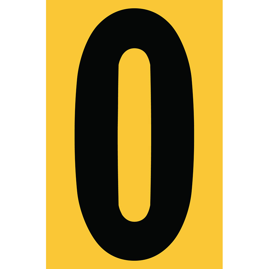 "4"" Black on Yellow Engineer Grade Reflective ""0"""