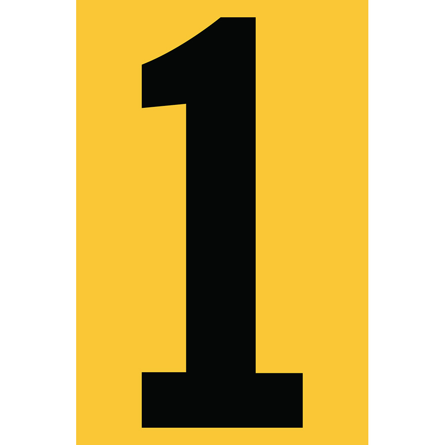 "4"" Black on Yellow Engineer Grade Reflective ""1"""