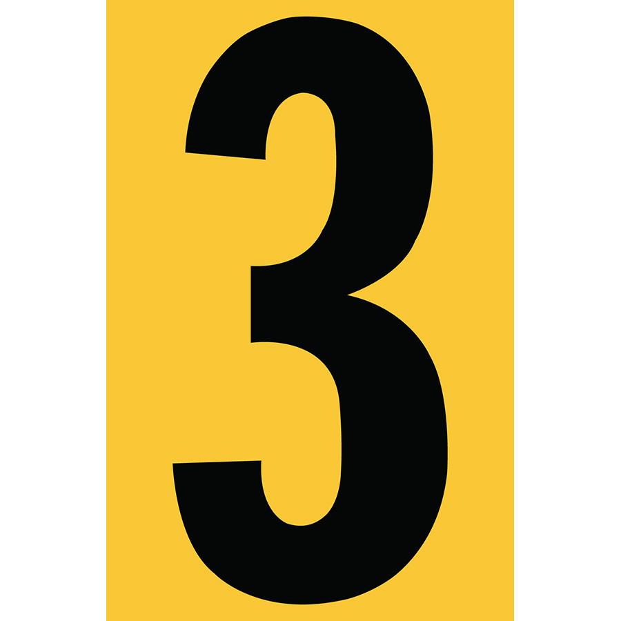 "4"" Black on Yellow Engineer Grade Reflective ""3"""