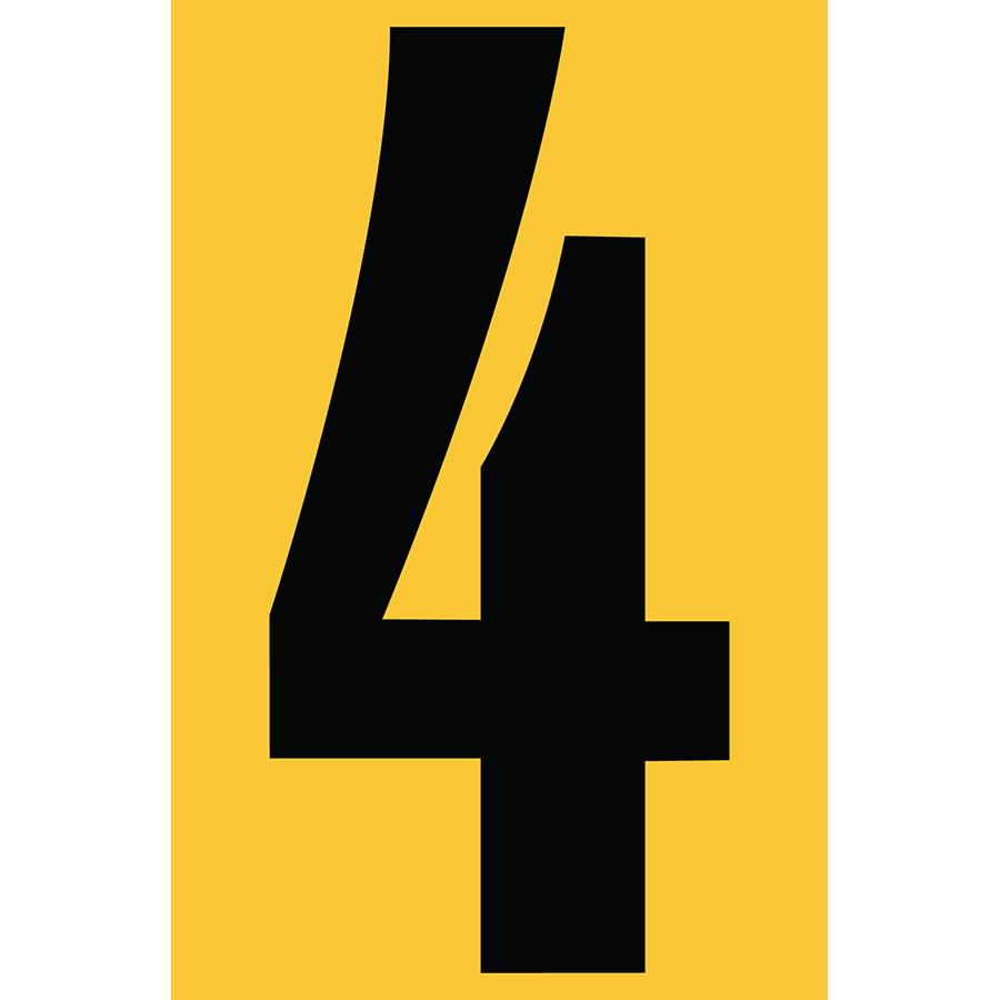 "4"" Black on Yellow Engineer Grade Reflective ""4"""